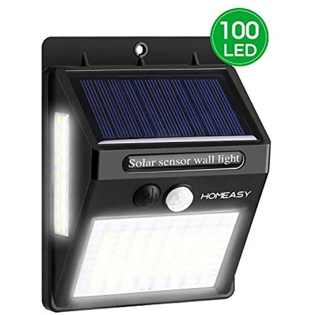 Homeasy Solarwandleuchten Aussen Mit Bewegungsmelder 100led Solarleuchten Fur Aussen Mit Seitlichen Leuchten Ip65 Wasserdi Solarleuchten Solar Garagenbeleuchtung