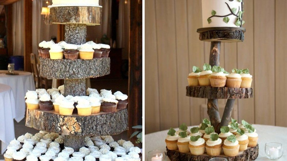 60 id es d co pour un mariage nature presentoir gateau for Table plateau tronc d arbre