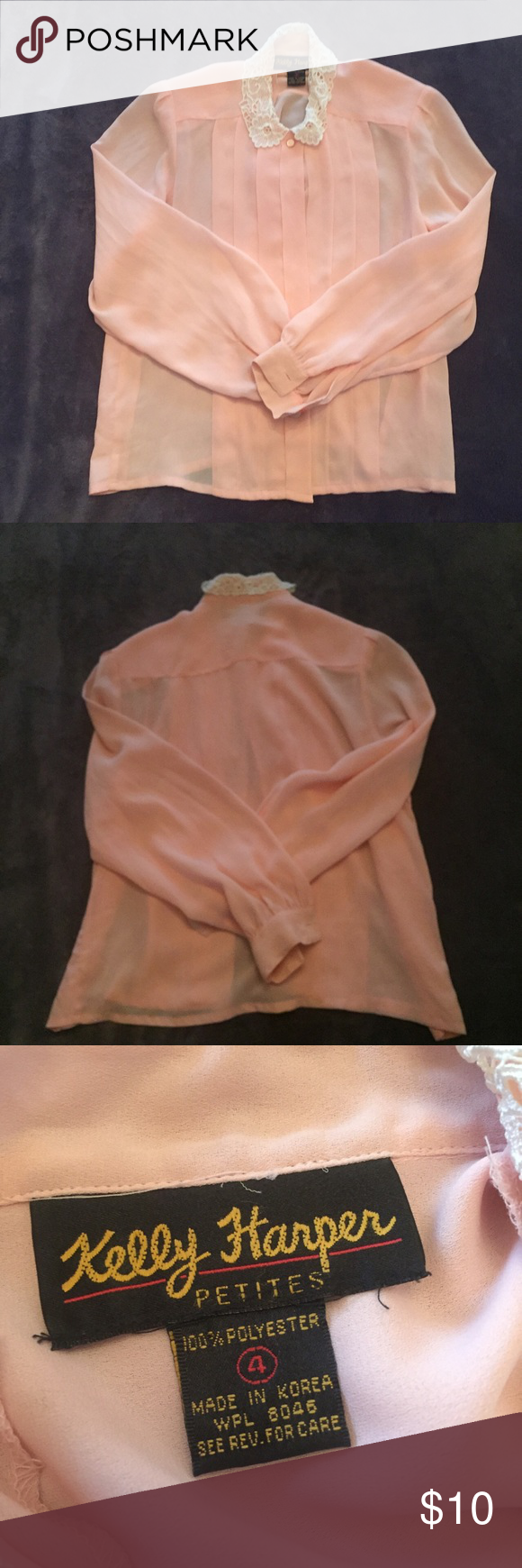 CUTE VINTAGE PINK BLOUSE Adorable pink blouse I bought from another posher. It's just been sitting in my closet. :( It's vintage so it's one of a kind. In mint condition. Size 4. Fabric details in last photo. Vintage Tops Blouses
