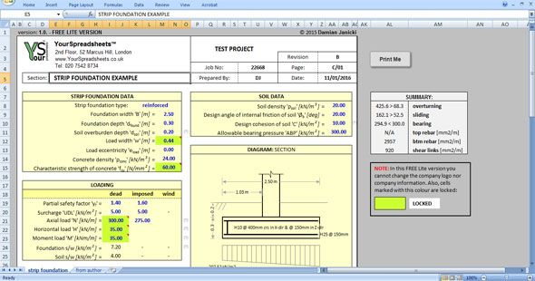 Wall Footing Design Xls : R c strip footing design spreadsheet details