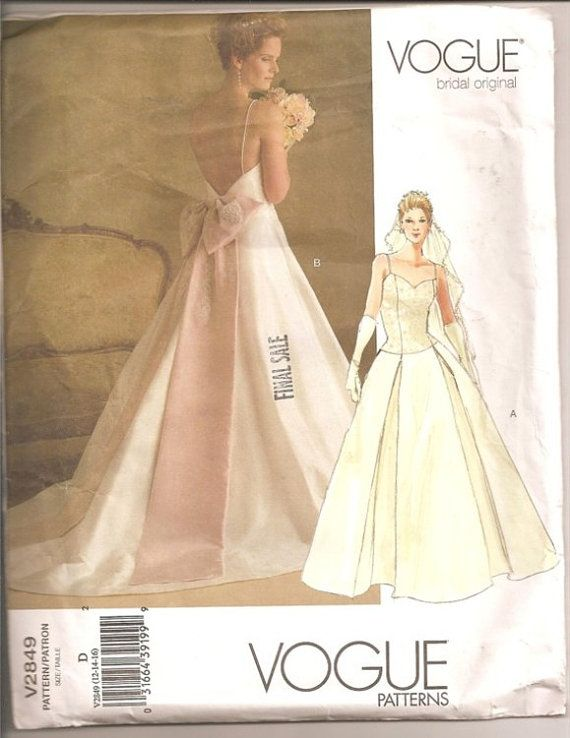 Vogue Bridal Patterns | Vogue Sewing Pattern V2849 Wedding Bridal ...