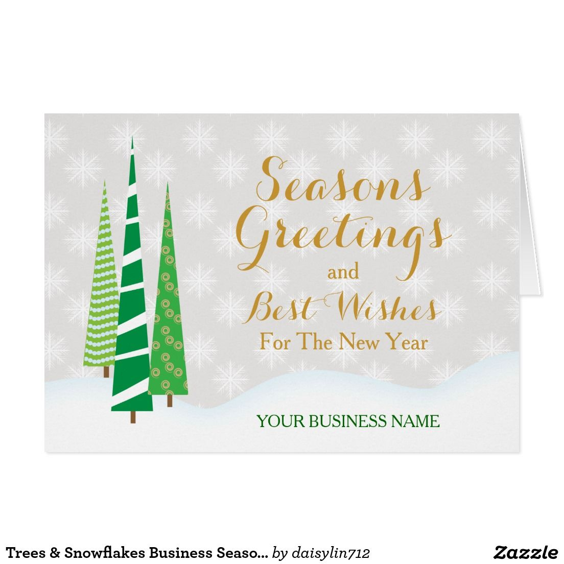 Trees snowflakes business seasons greetings custom christmas business holiday greeting card featuring three tall skinny christmas trees and customizable text on the front and inside kristyandbryce Images