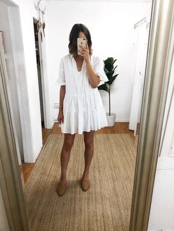 White Bell Short Sleeve Tiered Mini Dress Elanmia Aria Dress Dresses Mini Dress [ 1440 x 1080 Pixel ]