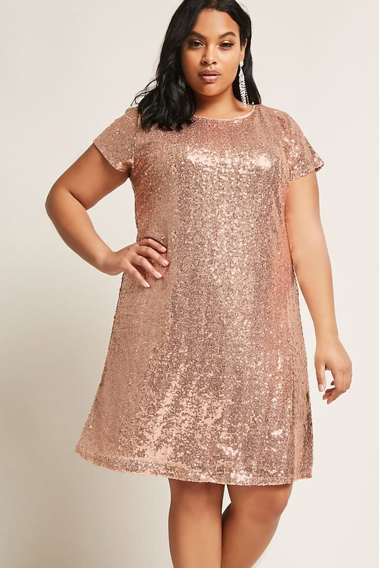 55f19d5a Product Name:Plus Size Metallic Sequin Dress, Category:CLEARANCE_ZERO,  Price:48