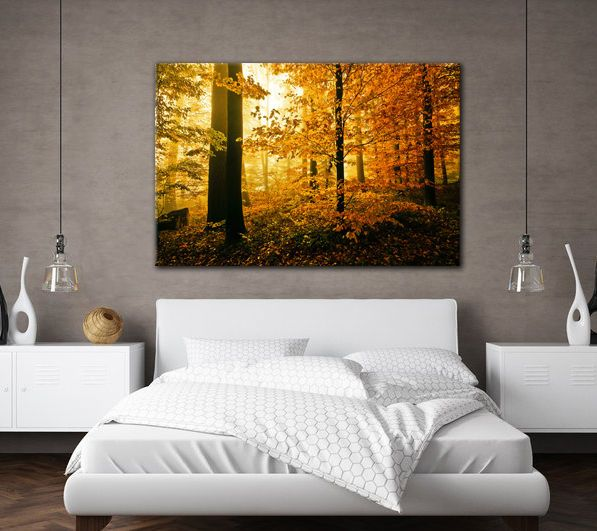 Large Canvas Wall Art Autumn Forest Trees Yellow Leaves