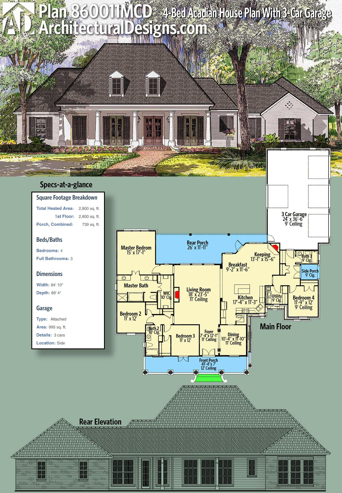 Plan 860011mcd 4 Bed Acadian House Plan With 3 Car Garage