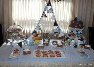 Baby Shower Themes Hostess Mostess ~ Blue and brown monkey theme baby shower by serena of rylie boo