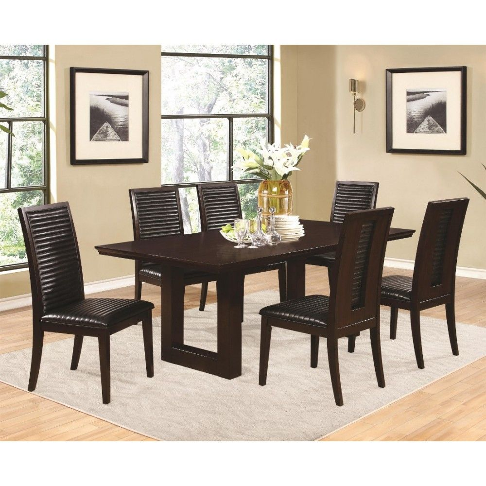 Coaster Chester Rectangle Dining Table Set In Bitter Chocolate Wood Finish Pedestal Dining Table Rectangle Dining Table Dining Table