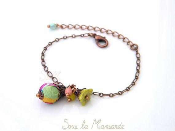Bracelet chaîne Poppy vert & rose #016, textile & verre