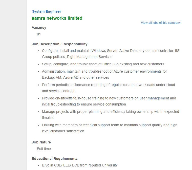 Aamra Networks Limited  Post System Engineer  Jobs Opportunity