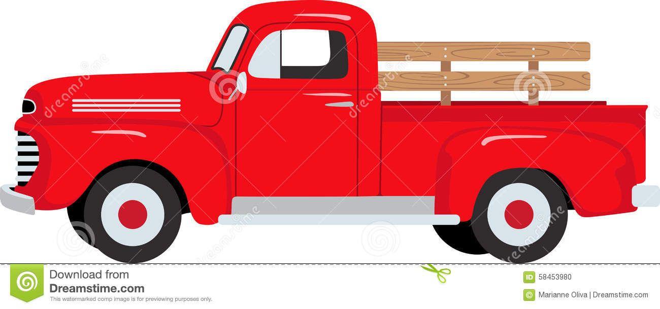 Farmer Red Pickup Truck Stock Vector Image 58453980 Farm