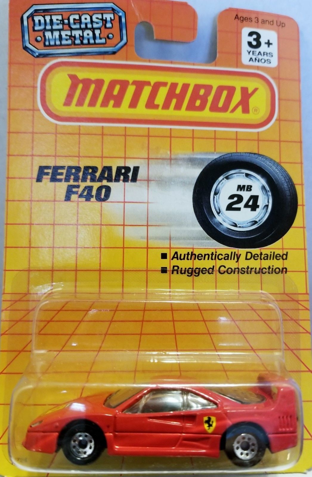 1990 MATCHBOX NEW IN PACKAGE 159 1988 FERRARI F40 DIE