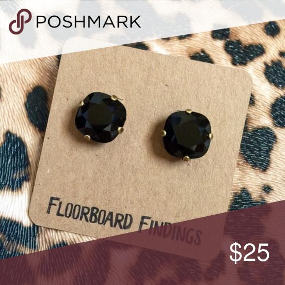 Swarovski Crystal Stud Set in Jet Swarovski • jet • large • 12mm stone • Brand new from Floorboard Findings Floorboard Findings Jewelry Earrings