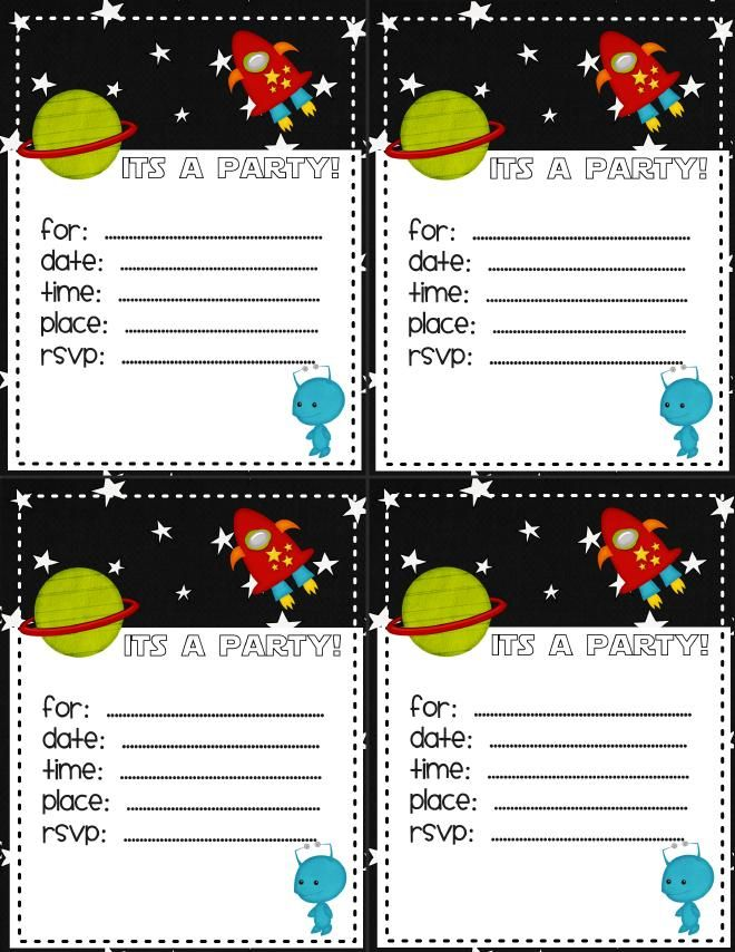 Space birthday invitation - source for my colorable version! | Cub ...