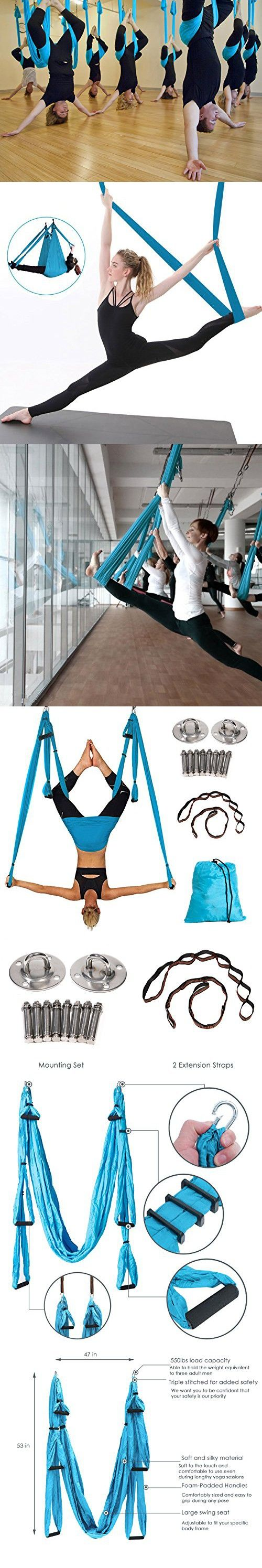 Christmas Sale Aerial Yoga Swing For Antigravity And Inversion Exercises With 2 Extension Straps Air Yoga Hanging Swing Blue Yoga Swing Aerial Yoga Air Yoga
