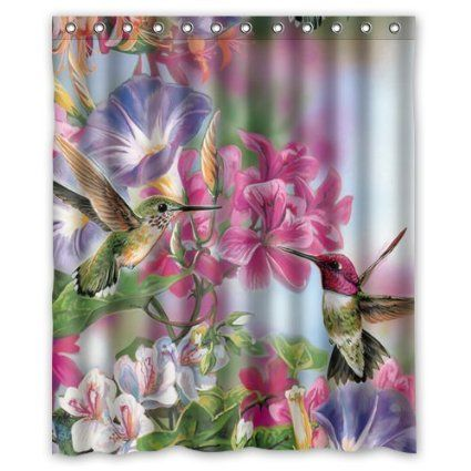 Funny Novelty Hummingbird Shower Curtain Shower Rings Included