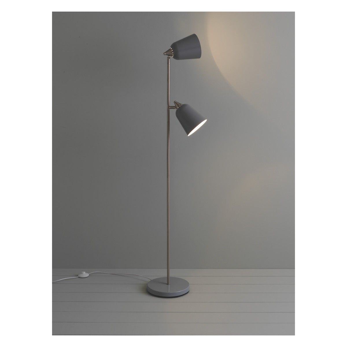 Double grey metal twin head floor lamp floor lamp twins and metals double grey metal twin head floor lamp aloadofball Images