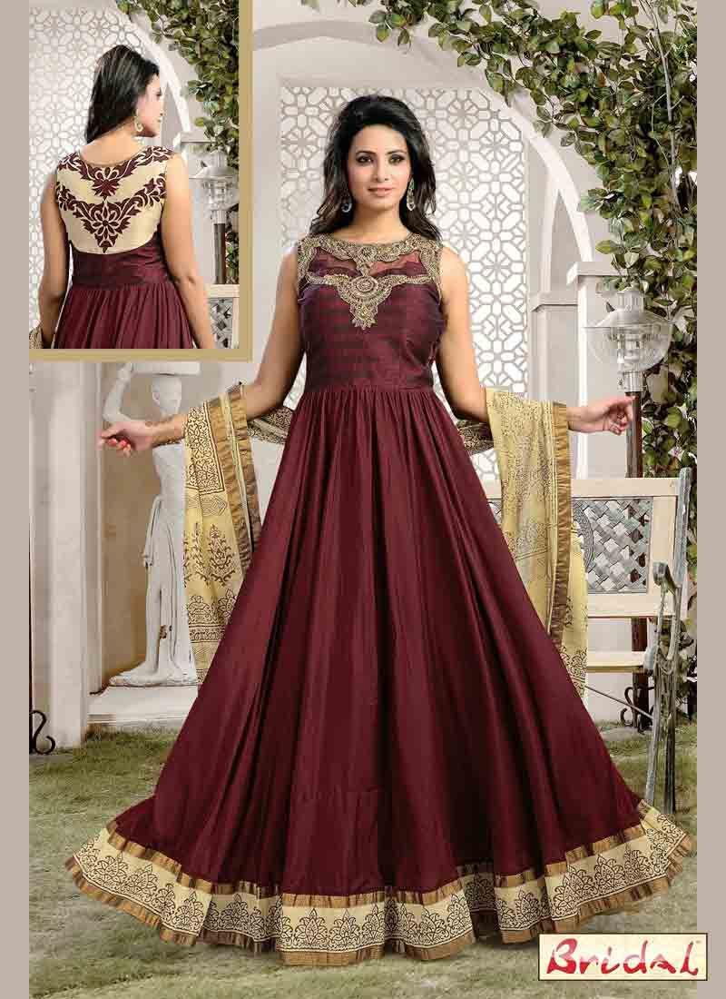 2b937fda96 dark brown latest indian anarkali frocks and salwar suit dress designs 2017  with matching dupatta