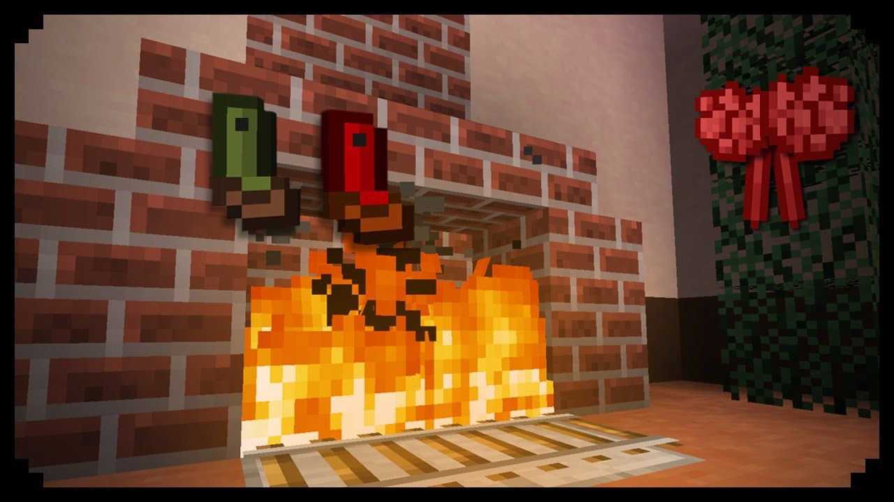 minecraft how to make a christmas fireplace awesome