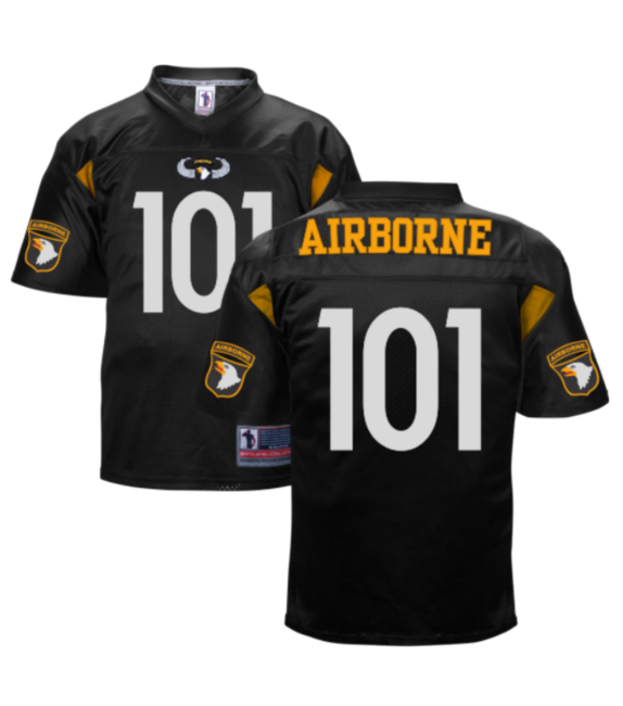 101st Airborne Authentic  Football  Jersey with All fabric 100% Made in  U.S.A Two-ply Dazzle Fabric Shoulders Lycra Side Inserts and V-Neck Collar  Tackle ... 49bf99f9b