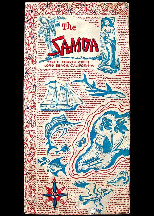 The Samoa, Long Beach--long gone (?) but amazing menu design | Tiki ...
