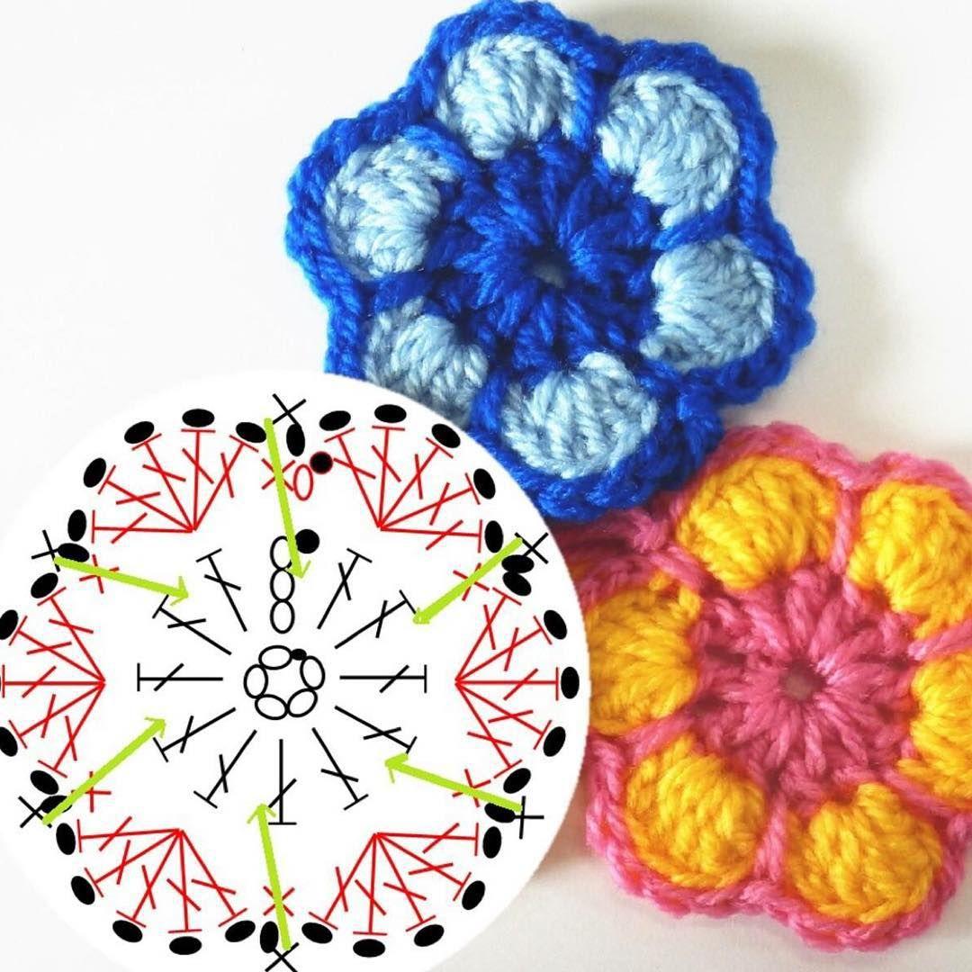 Crochet Flower - Chart ❥ 4U hilariafina http://www.pinterest.com ...