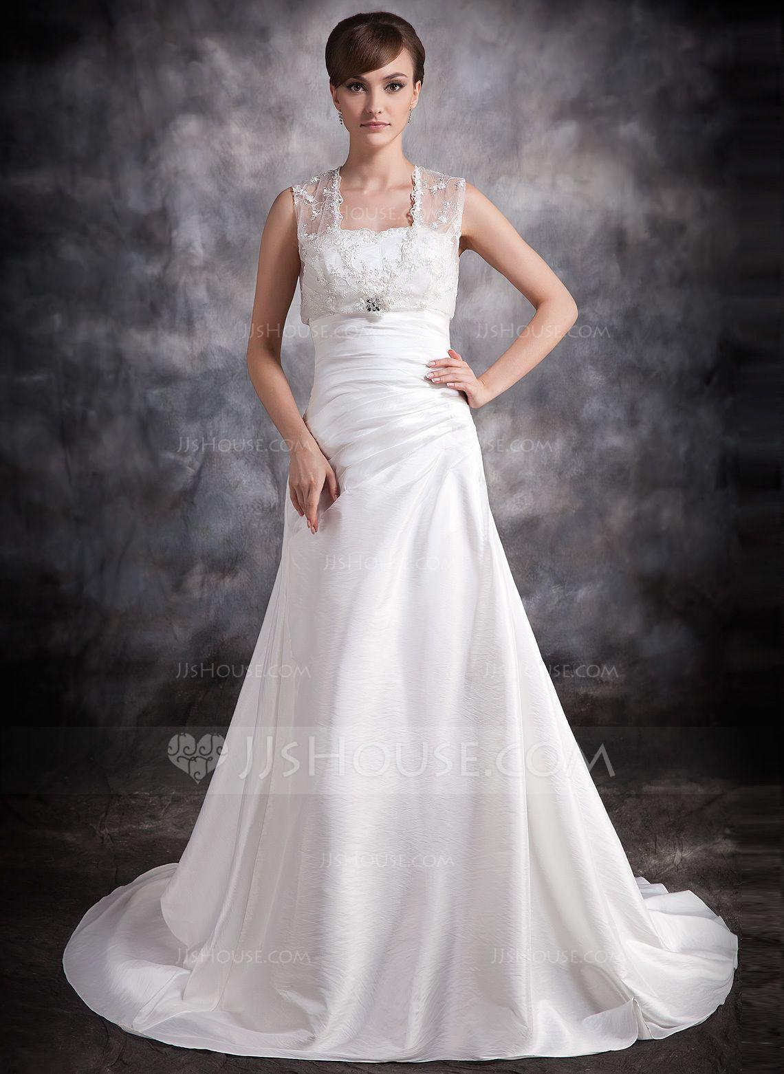 Alineprincess sweetheart court train taffeta wedding dress with