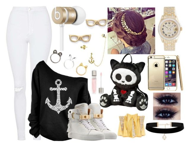 """""""Anchor Print Oversized Off Shoulder Raw Edge Sweatshirt"""" by aaliyahsalmon ❤ liked on Polyvore featuring Topshop, Bling Jewelry, Beats by Dr. Dre, Kate Spade, BUSCEMI, Ella Carter, Rolex, Forever New and Lancôme"""