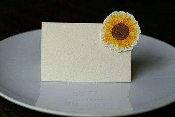 Sunflower Small Tent - Place Card - Escort Card - Gift Card - Menu card weddings & Sunflower Small Tent - Place Card - Escort Card - Gift Card - Menu ...