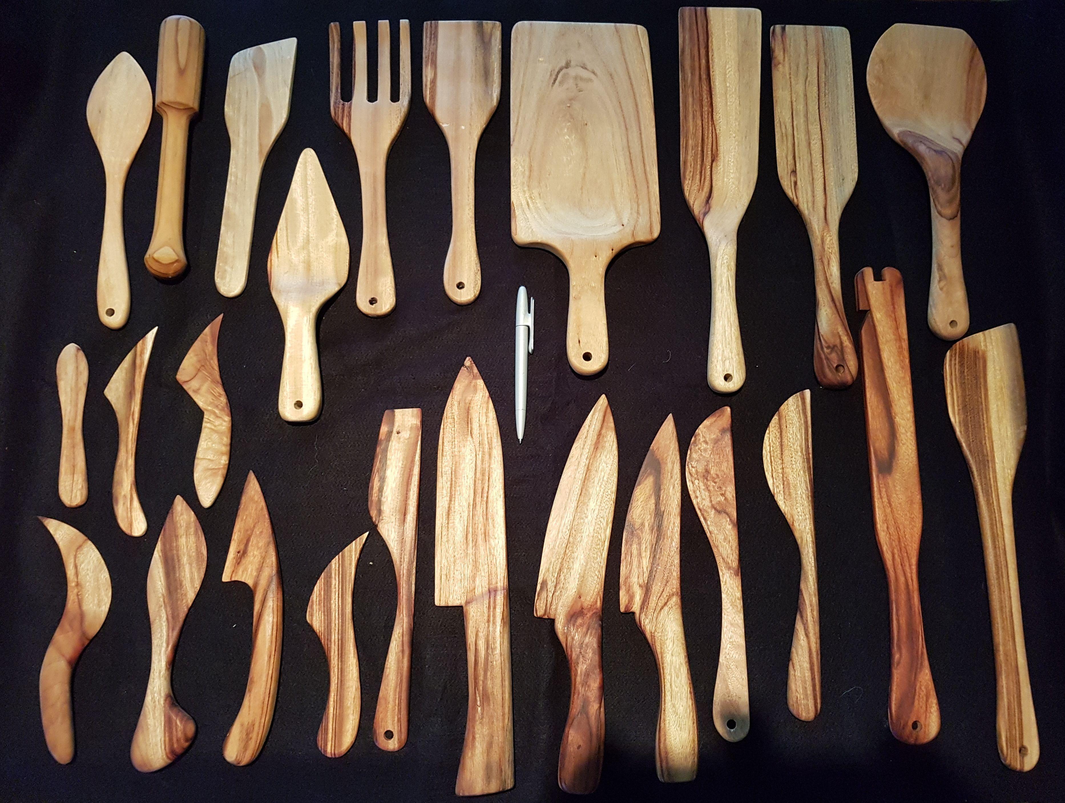 Camphor Laurel kitchen utensils by Robert Gray