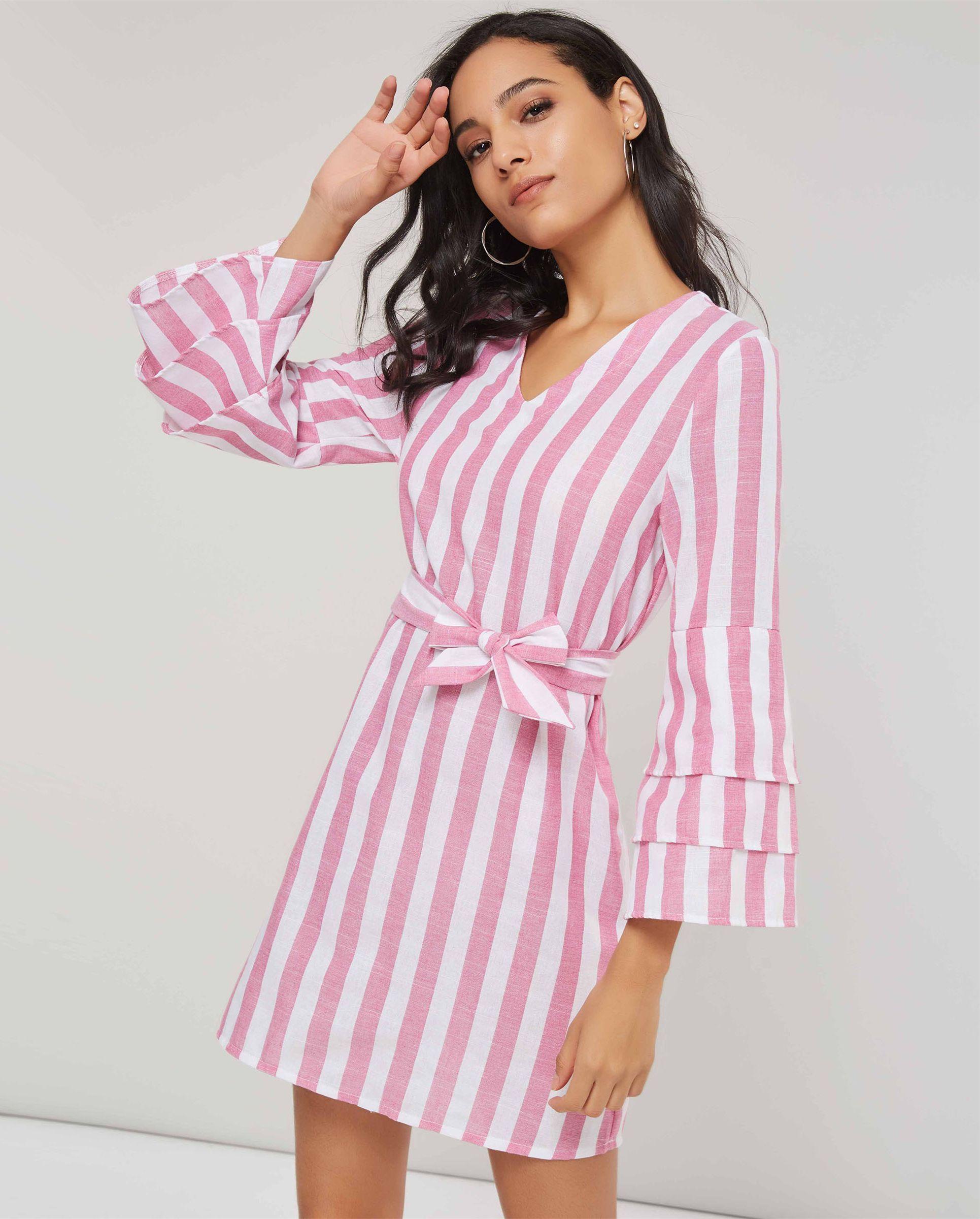 Stripe bowknot vneck womenus long sleeve dress in dresses