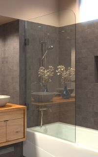 Shower Screens The Sleek Alternative To Shower Curtains And Sliding Tub Doors Clean And Simple European Design A Bathrooms Remodel Tub Doors Bathroom Design