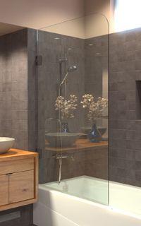 Superb Frameless Bathtub Shower Screen, Swing Door, 60 X Glass, Polished Chrome  Hinges.