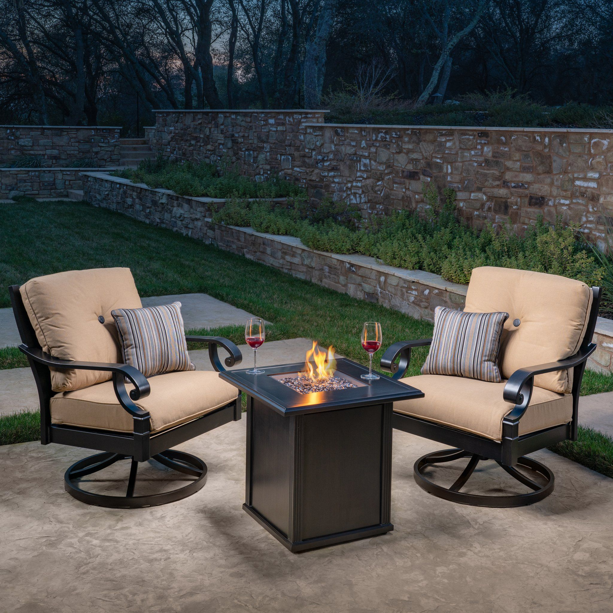 Verena 3 Piece Fire Chat Set In 2020 Patio Furnishings Patio Outdoor Furniture Sets