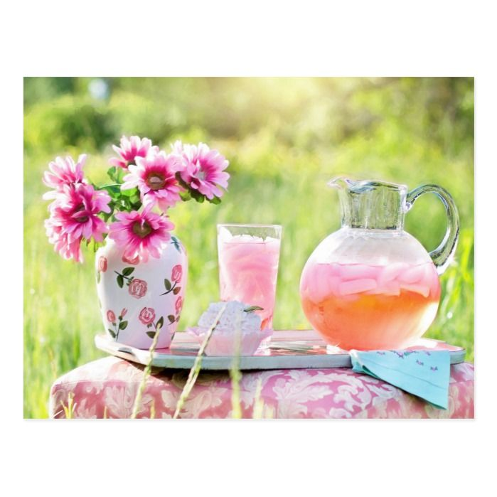 Pink Lemonade in the Garden photo postcard #homemadelemonaderecipes