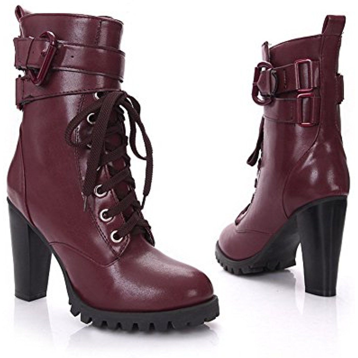 Womens Closed Round Toe High Heels Solid PU Fabric Boots with Leather Button