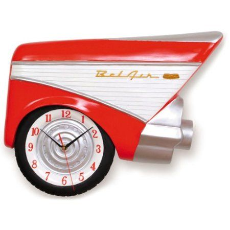 Amazon Com 57 Chevy Bel Air 3 D Wall Clock Furniture Decor Novelty Clocks Chevy Bel Air Retro Clock
