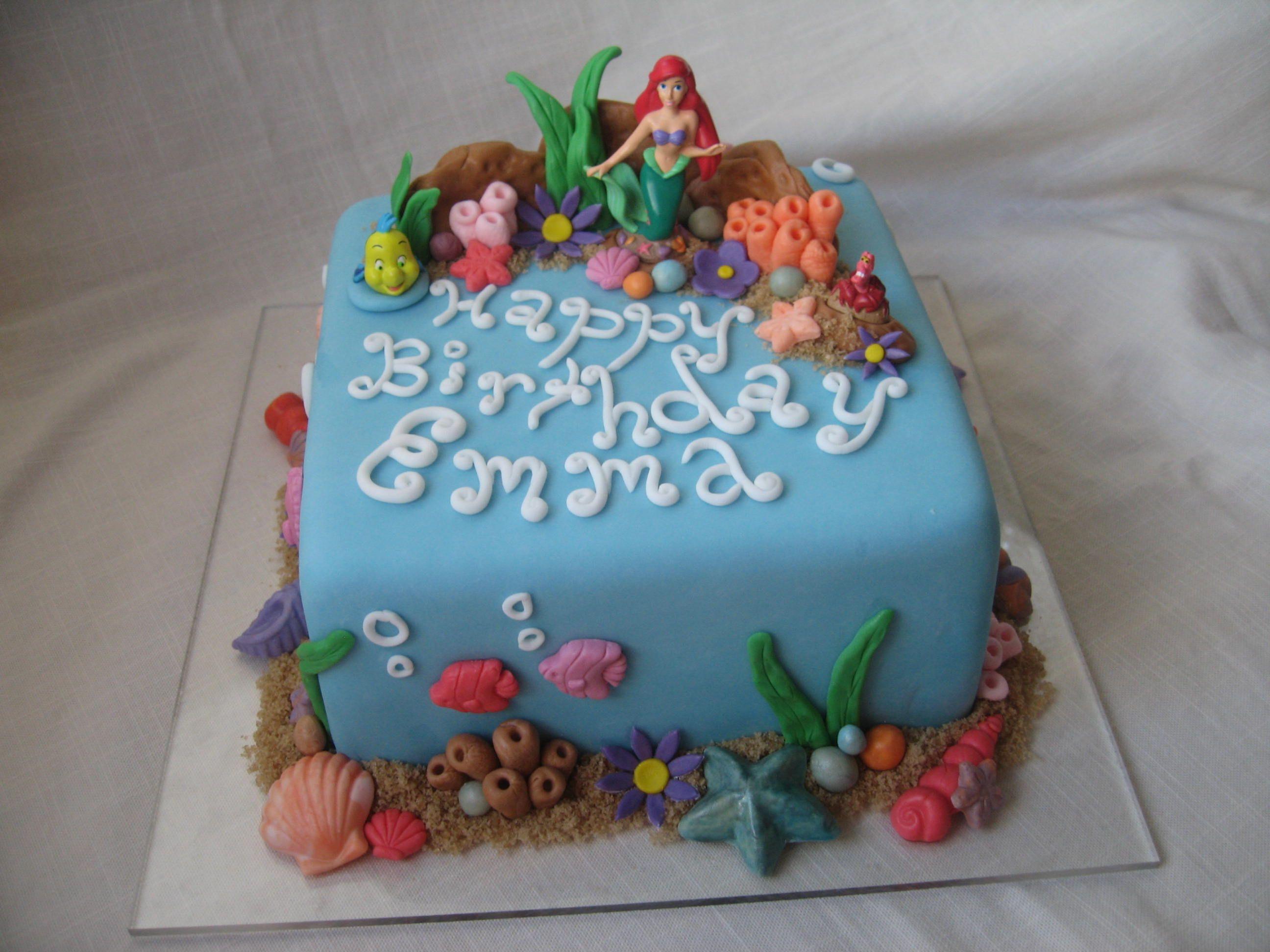 Cake ideas on pinterest pirate cakes marshmallow fondant and - Ariel Cake Idea For Gwen