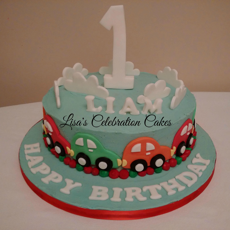 10 vanilla sponge cake covered in buttercream with fondant car