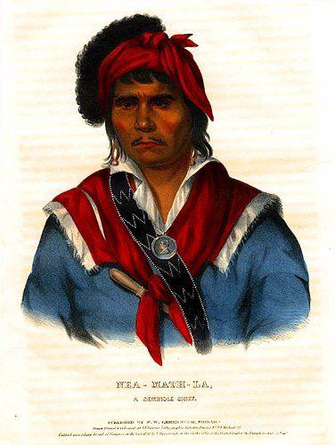 Amazon com Art: Nea-Math-La, a Seminole Chief : Lithography