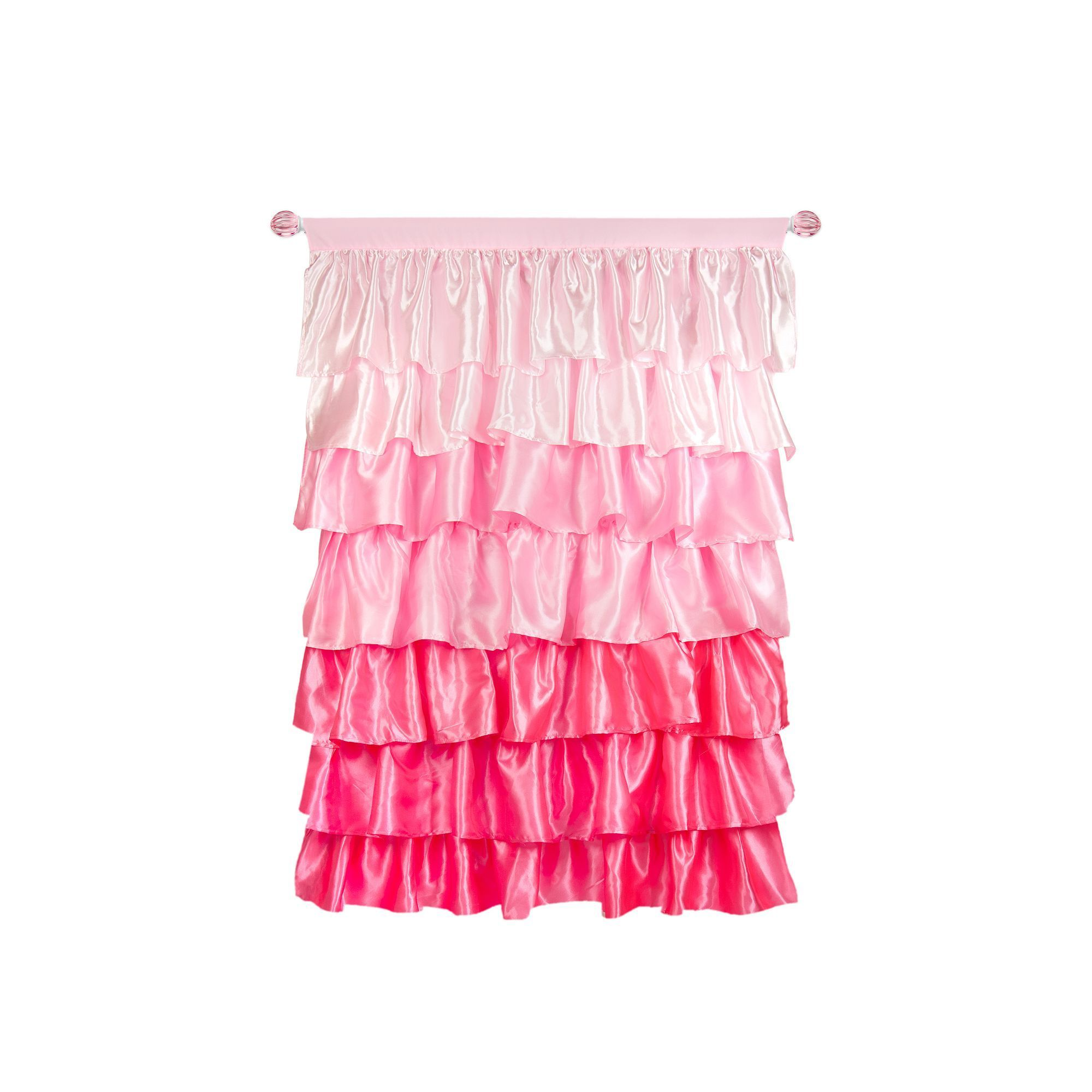 Tadpoles Tiered Ruffled Satin Curtain Panel Pink Pink Ruffle