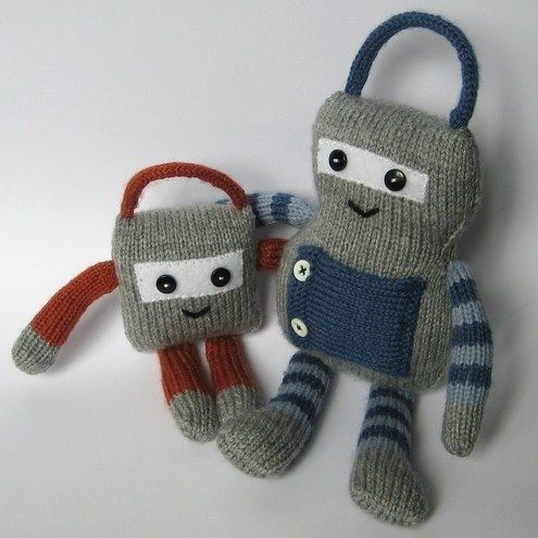 Big Ben And Little Ben Robots Knitting Pattern For Beginners With