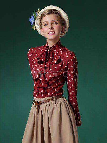 Blusa de algodão vermelho com bolinhas impressão babados para as mulheres-No.3