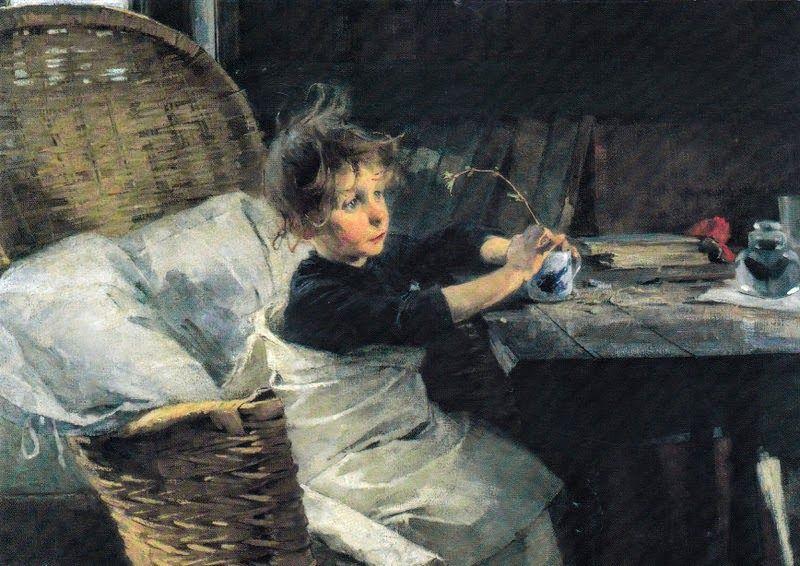 Kuva albumissa HELENE SCHJERFBECK - Google Kuvat. Lapsen tähden.  Toipilas 1888, Ateneum, osa,  Taittokortti.
