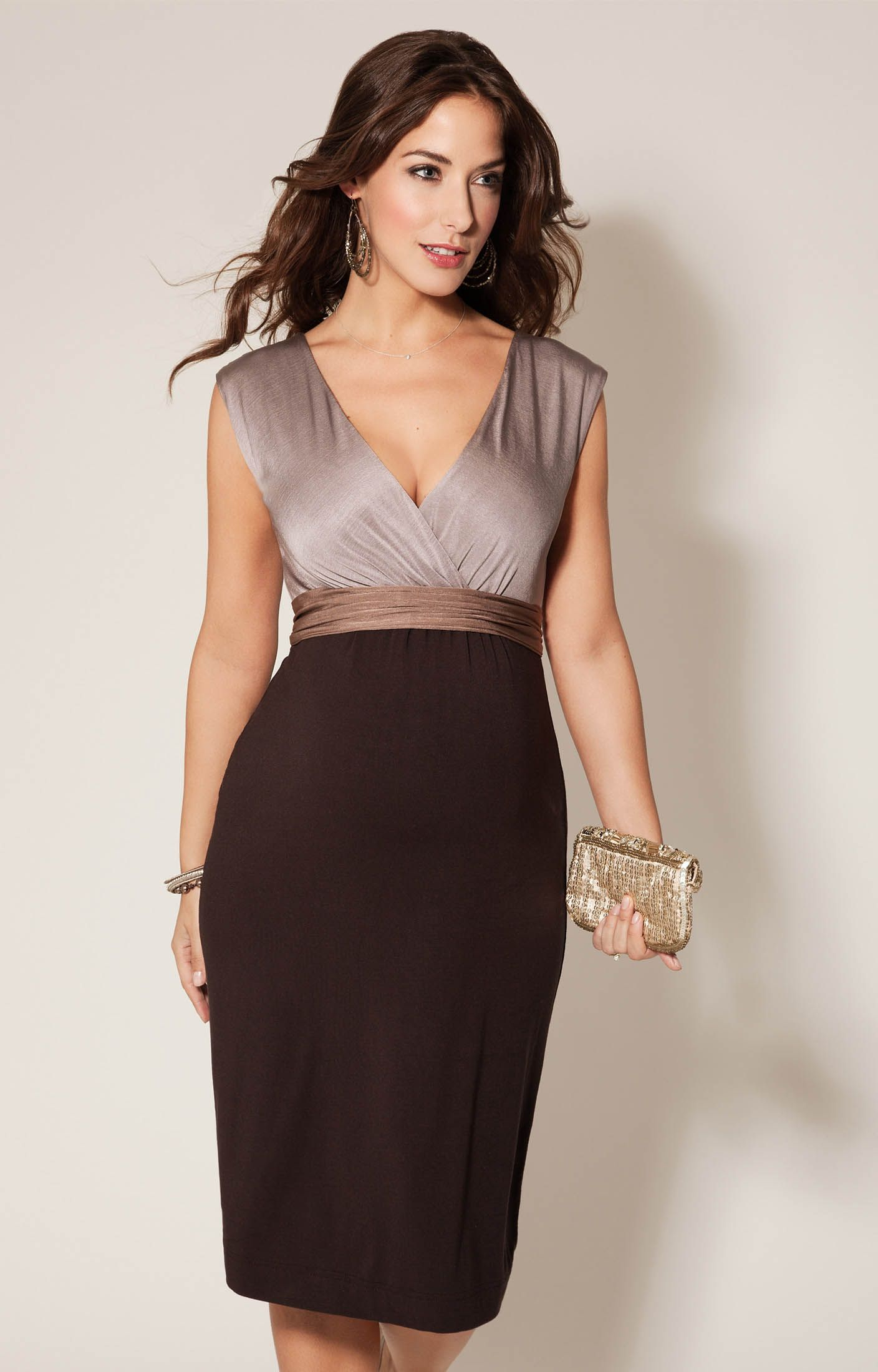 c9b92292b4c Jewel Block Maternity Dress Coffee Bean by Tiffany Rose