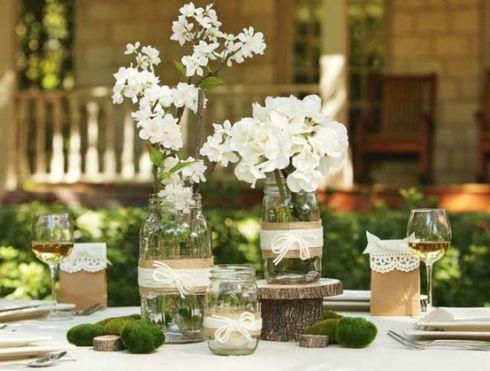 D coration de mariage avec toile de jute table rustique - Idee deco table champetre ...