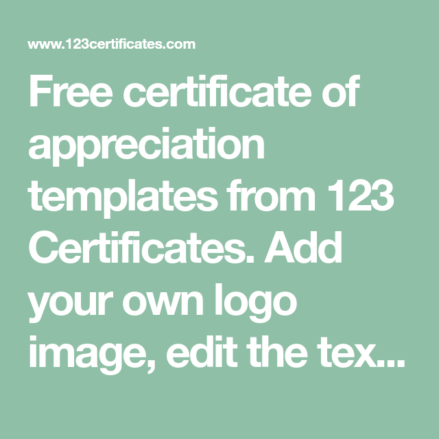 Free Certificate Of Appreciation Templates From 123