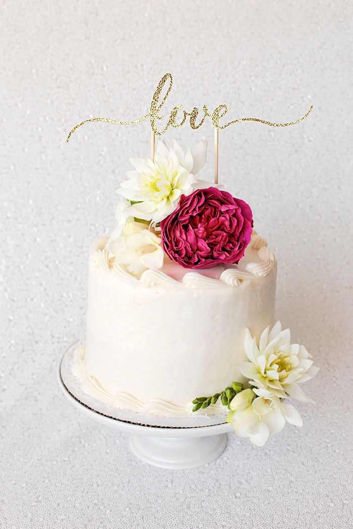 Love Cake Topper In Gold Glitter Diy Cake Topper Wedding Cake Topper Diy Bridal Shower Cake Topper
