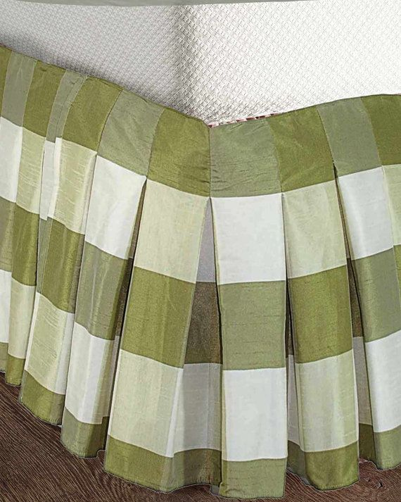 ivory green buffalo checked faux silk bed skirt or dust ruffles - Dust Ruffles