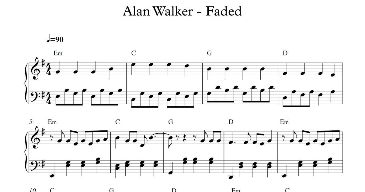 Free Piano Sheet Music Alan Walker Fadedpdf You Were The Shadow